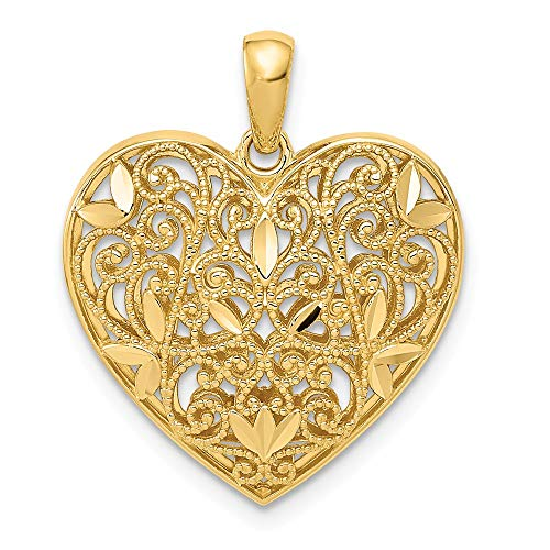 (Jewels By Lux 14K Yellow Gold Diamond-Cut Polished Filigree Heart Pendant)