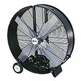 Comfort Zone CZMC42B High-Velocity Industrial Heavy Duty 2-Speed 2-Wheel Belt-Drive Drum Fan with Aluminum Blades - 42'