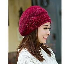 03090d830a0fa HYW Mujeres Boinas Invierno Cálido Sombrero de Punto Lana Snow Ski Caps con  Visera Gruesa Caliente