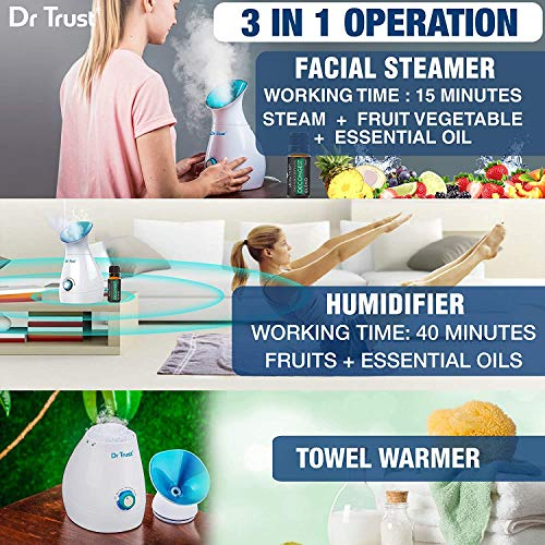 Dr Trust USA 3-in-1 Nano Ionic Facial Steamer Vaporizer Room Humidifier
