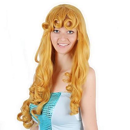 Peluca De Cosplay Bella Durmiente Elora Princesa Peluca De Anime Dorada Larga Rizada De Oro