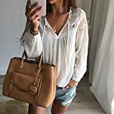 MEXUD-Loose T-shirt Tops Blouse with Fashion Sexy Women's Lace Long Sleeve Tee Shirt Casual for Women (CN-L/US-12/UK-16/EU-42)