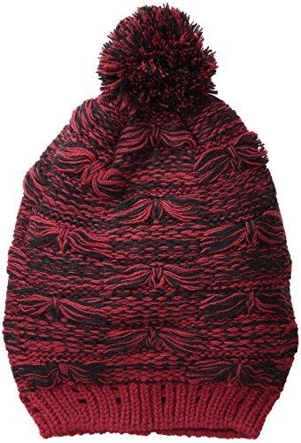 San Diego Hat Company Women's Oversize Drop Stitch Beanie Hat with Pom Pom, Garnet, One Size