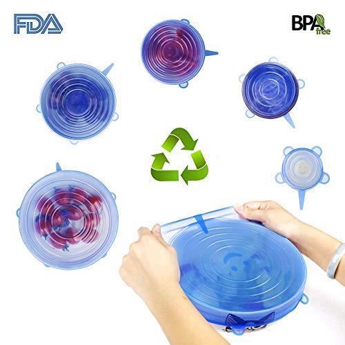 Silicone Lids Upgraded Stretch Lids Reusable Food Cover Lids Smiling Silicone Stretch Lids Food Saver for Bowls and Storage Containers(6 Pack)