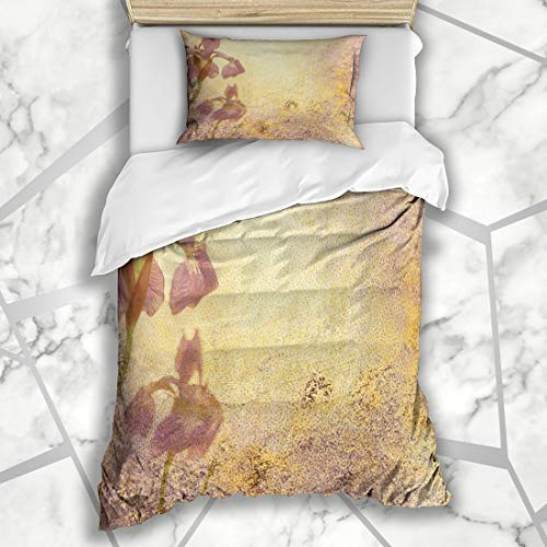 (Ahawoso Duvet Cover Sets Twin 68X86 Messy Purple Royal Iris Abstract Stationary Grungy Watercolor Aged Announcement Antique Bloom Blotchy Ivory Microfiber Bedding with 1 Pillow Shams)