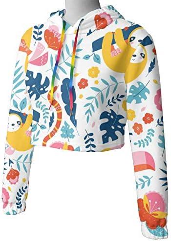 かわいいオオハシとナマケモノクロップドパーカー女性の2019ファッション長袖パッチワーククロップトップスウェットスポーツジムオフィススクール