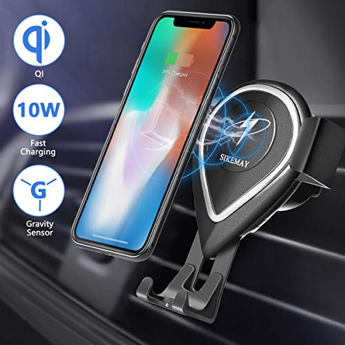 Wireless Car Charger Mount,Air Vent Phone Holder,Qi 10W Fast Charging Compatible Samsung Note 8/7/5,Galaxy S9/S8/S7,7.5W Compatible iPhone Xs/XS Max/XR/X/8/8P,5W Charge Other Qi-Enable Phones