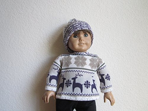 - Nordic-Themed Purple Deer & Snowflakes Sweater + Matching Hat fits American Girl