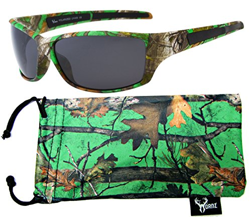 Hornz Brown Forrest Camouflage Polarized Sunglasses for Men Full Frame & Free Matching Microfiber Pouch – Green Camo Frame - Smoke - Lens Sunglasses Camouflage