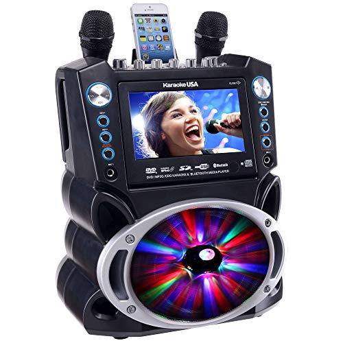 Karaoke GF842 DVD/CDG/MP3G Karaoke System with 7'' TFT Color Screen, Record, Bluetooth and LED Sync Lights by Karaoke USA (Image #4)