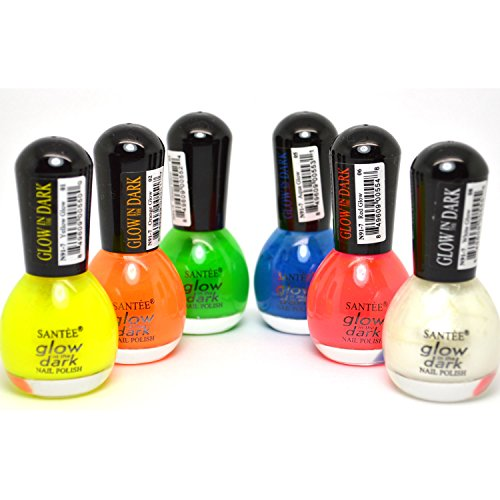 SANTEE GLOW IN THE DARK LOT OF 6 MINI BOTTLE NAIL POLISH LACQUER COLLECTION + FREE EARRING -