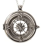 Compass 4x Magnifier Magnifying Glass Sliding Top Magnet Pendant Necklace, 30'' (Silver Tone)