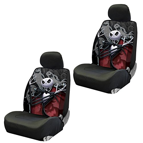 Disney Nightmare Before Christmas Jack Skellington Ghostly Low Back Seat Covers Front Pair]()