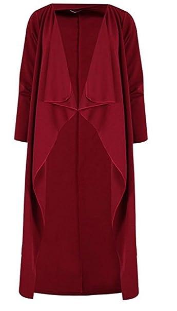 MKL Fashions - Abrigo - para mujer rojo Wine 24-26: Amazon.es: Ropa y accesorios