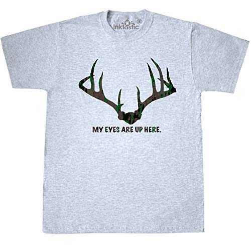 inktastic - My Eyes are Up Here in Camo T-Shirt Medium Ash Grey 35ad1 ()