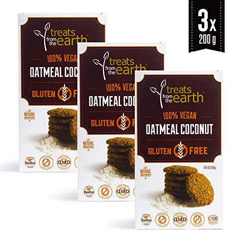 Treats from the Earth Gluten Free Oatmeal Coconut Cookies (Pack of 3) - 3 x 7.05 oz - Gluten Free - Kosher - Vegan - Dairy Free - Organic - GMO Free - (Coconut Sugar Free Cookies)