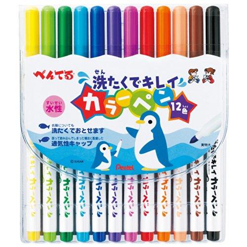ぺんてる カラーペン せんたくでキレイ SCS2-12  12色