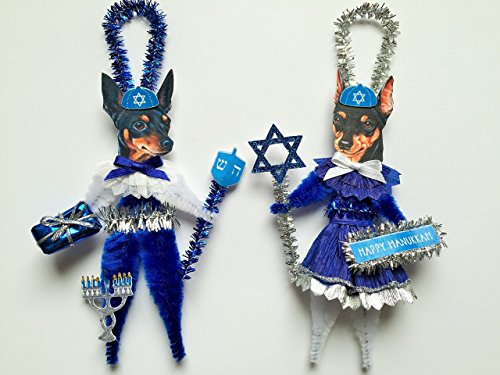 Miniature Pinscher HANUKKAH Jewish Holiday ORNAMENTS Vintage Style Chenille Ornaments Set of 2