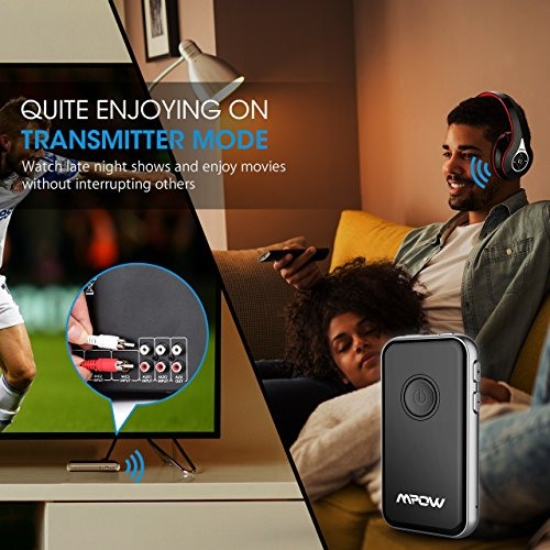 Large Product Image of Mpow Bluetooth 4.1 Receiver and Transmitter, 2-in-1 Wireless 3.5mm Audio Adapter, Pairing with 2 Bluetooth Headphones At Once In TX Mode, Built-in Mic for Hands-free Calling in RX Mode