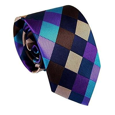 Secdtie Men's Classic Checks Plaid Tie Colorful Jacquard Woven Silk Necktie