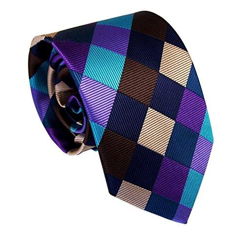 Secdtie Men Classic Checks Brown Blue Purple Jacquard Woven Silk Tie Necktie - Shop C21