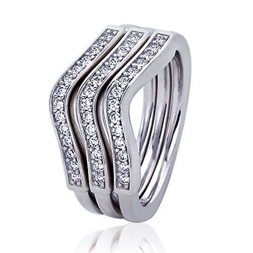 Platinum Plated Sterling Silver 0.5ct CZ Wavy Stackable 3 pcs Together Ladies Ring ( Size 5 to 9 ), 9 by Double Accent (Image #1)