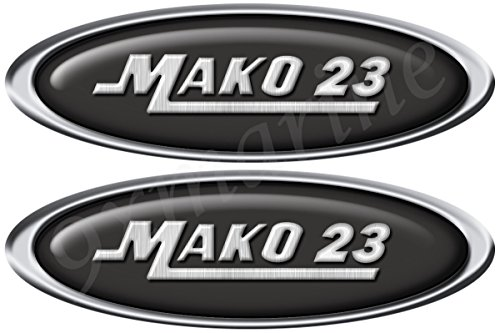 9xmarine Mako Boat Oval Stickers with Number of your Choice