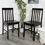 Walker Edison Espresso Wood Dining Chairs, Set of 2
