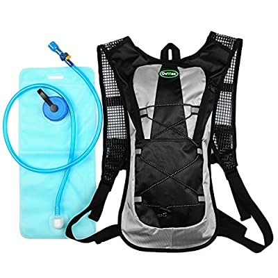 Hydration Pack with 2L Backpack Water Bladder 5 Points Improvement Newly Design Lightweight Outdoor Tactical Survival Reservoir Men Women Kids Camping Hiking Running Biking Bag