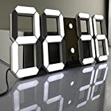 Pinty Multi-Functional Remote Control Large LED Digital Wall Clock with Countdown Timer Temperature Date (Black Shell White Digital)