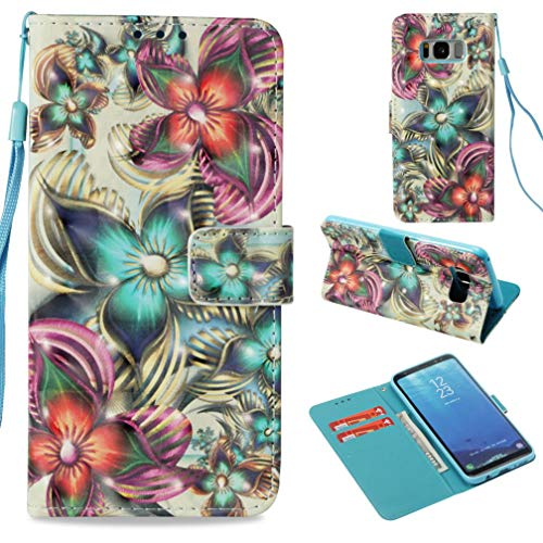 Firefish Galaxy S8 Case,Durable Flip Kickstand Pu Leather Case Cover 3D Printing Pattern Magnetic Closure Full Protective Case Anti Sliding Credit Card Holder Samsung Galaxy S8 -Kaleidoscope