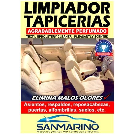 SANMARINO LIMPIATAPICERIAS TEXTIL CON PISTOLA 500 ML. + CEPILLO: Amazon.es: Coche y moto