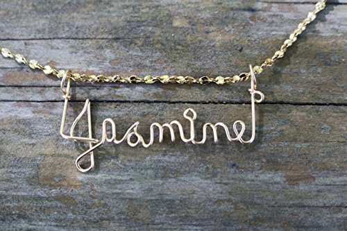 Hand Scripted 14K Gold Filled Personalized Name Necklace Jasmine Arabella Necklace
