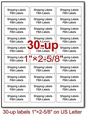 30-up 1x2 5/8 Address Labels, 100 Sheets, 3000 Labels, Self Adhesive  Mailing FBA Shipping Labels for Laser and Inkjet Printers, Meets Amazon FBA  FNSKU