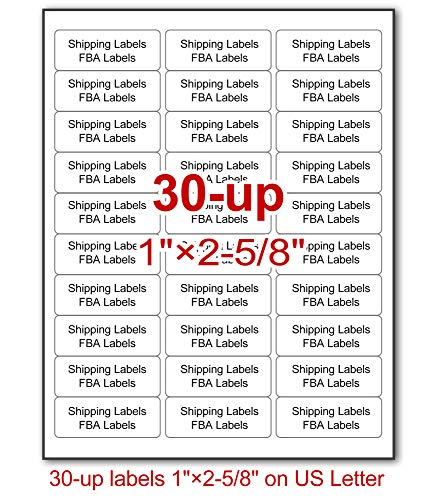 """(30-up Labels, 3000 Stickers, 100 Sheets, 1""""x2-5/8, SKU FBA Address Labels for Laser/Inkjet Printers, Easy to Peel, Permanent)"""