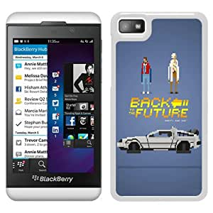 Beautiful Designed Cover Case For Blackberry Z10 With Back to the Future 1 White Phone Case