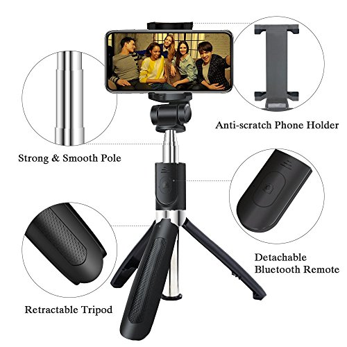 Alptoy Selfie Stick Bluetooth, Extendable Selfie Stick with Wireless Remote and Tripod Stand Selfie Stick for iPhone X/iPhone 8/8 Plus/iPhone 7/iPhone 7 Plus/Galaxy Note 8/S9/S9 Plus/S8 by Alptoy (Image #1)