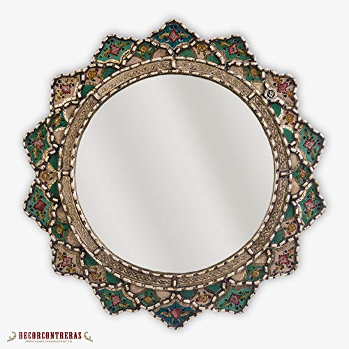 (Decorative Round Mirror Wall 23.6in, Peruvian Wall Accent Mirror, Painting on glass Hanging Wall Mirror, Bathroom wall decor