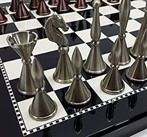 "Brass Metal Modern Art Deco Staunton Chess Set w/ 15"" High Gloss Black & White Gloss Board"