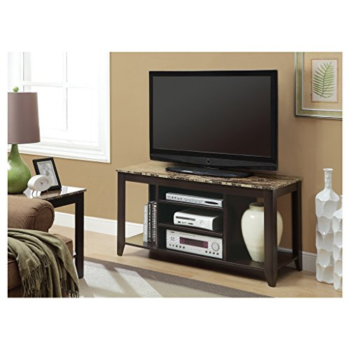 Monarch Specialties Top Length TV Console, 48-Inch, (Marble Top Pedestal)