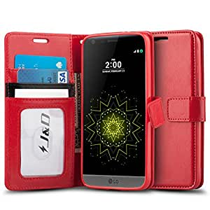 LG G5 Case, J&D [Wallet Stand] LG G5 Wallet Case Heavy Duty Protective Shock Resistant Case for LG G5 - Red