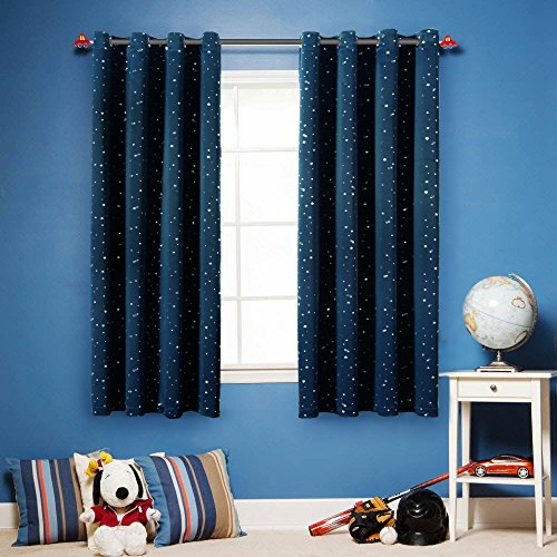 FlamingoP Printed Pair(2 Panels) Soft Microfiber Room Darkening Thermal Insulated & Heating Grommet Top Blackout Navy Stars kids Curtains/Drapers 63 by 52 inch