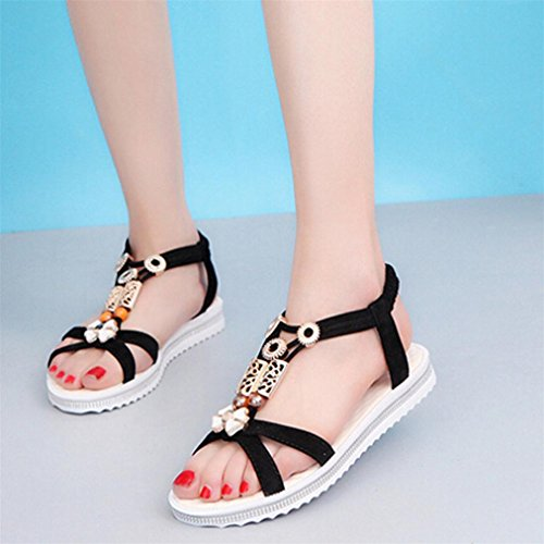 Vovotrade® Damen Sommer Sandalen Frauen Flache Strappy Low Heel Wedge Ankle Schuhe Strand Schwarz