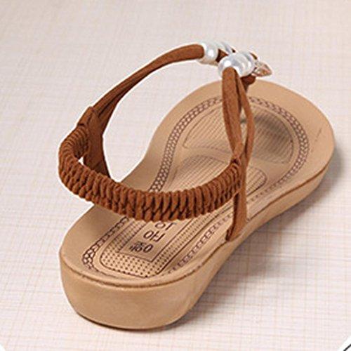 Saingace Frauen Perlen Böhmen Freizeit Dame Sandalen Peep-Toe Flip Flops flache Schuhe Braun