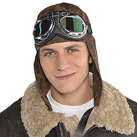 95dbc391e02 Image Unavailable. Image not available for. Color  AMSCAN Aviator Hat and  Goggles Halloween Costume ...