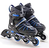 The Magic Toy Shop Junior 4 Wheel Adjustable Inline Skates Childrens Kids Boys Girls Roller Blades (Blue Stripes Medium/UK 2-4/)