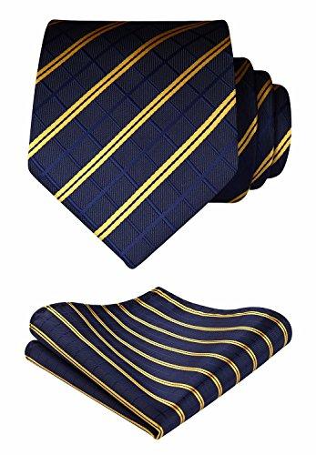 Tie Handkerchief Wedding Party Necktie & Pocket Square Set Navy (Checked Tie)