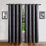 Warm Home Designs 1 Panel of Extra Long Charcoal 54″ (Width) by 108″ (Length) Textured Blackout Curtains with Embossed Flower Pattern. Insulated Drapes Allow Privacy & Reduce Noise. EV Charcoal 108 For Sale