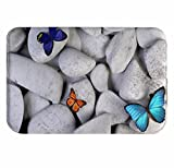 A.Monamour White Rocks Stones Colorful Butterfly Backgrounds Yoga Zen Meditation Themed Print Machine Washable Soft Flannel Anti-Skid Bath Mats Floor Mat Area Rugs 40x120cm/15.7''x47.2''