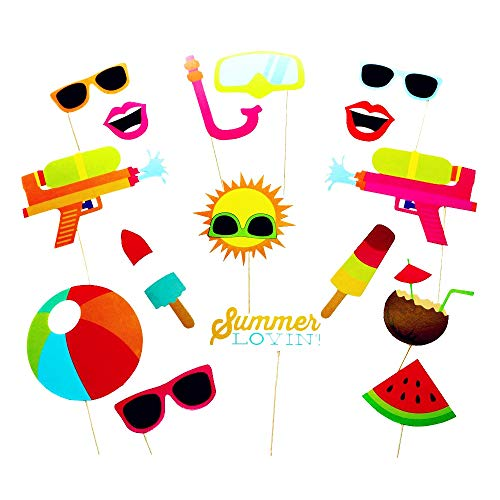 SIXQJZML 16pcs Hawaii Themed Summer Party Photo Booth Props Kit DIY Luau Party Supplies For Kids Birthday Holiday Wedding Beach Party]()